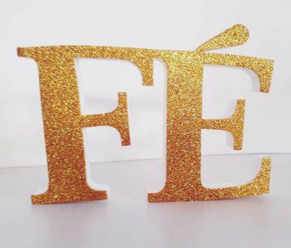 Enfeite Painel Fé - glitter dourado 1