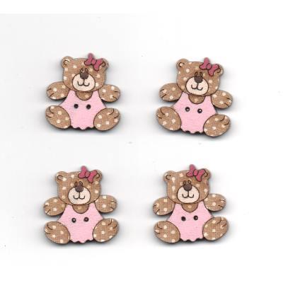 Botão Urso Rosa 1